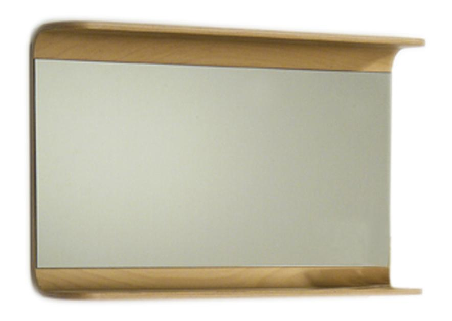 Aeri Rectangular Wall Mount Mirror with Integral Wood Shelf
