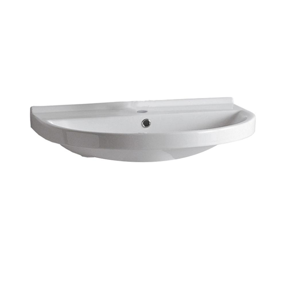 "Isabella Collection 23"" U-Shaped Wall Mount Basin with Chrome Overflow and Rear Center Drain"