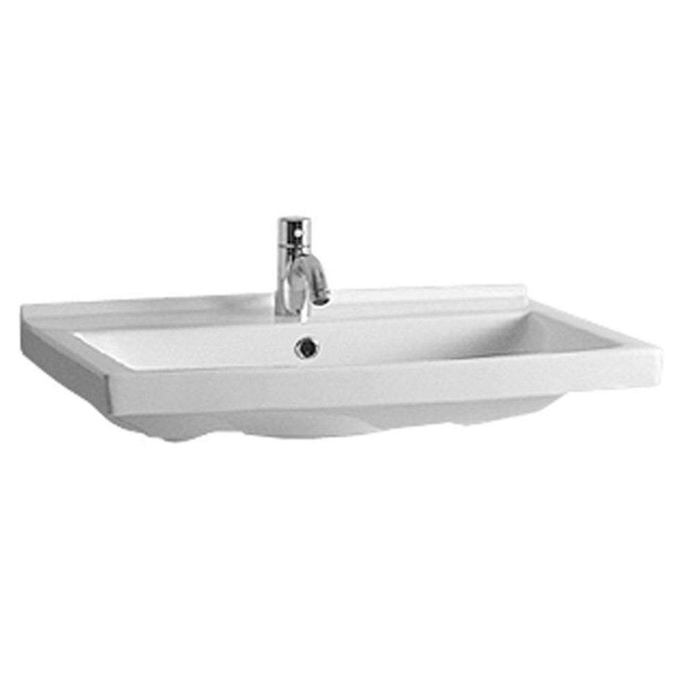 "Isabella Collection 23"" Rectangular Wall Mount Bath Basin with Chrome Overflow and Rear Center Drain"