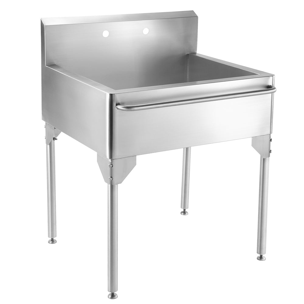 "30"" Pearlhaus Stainless steel single bowl freestanding utility sink with towel bar"