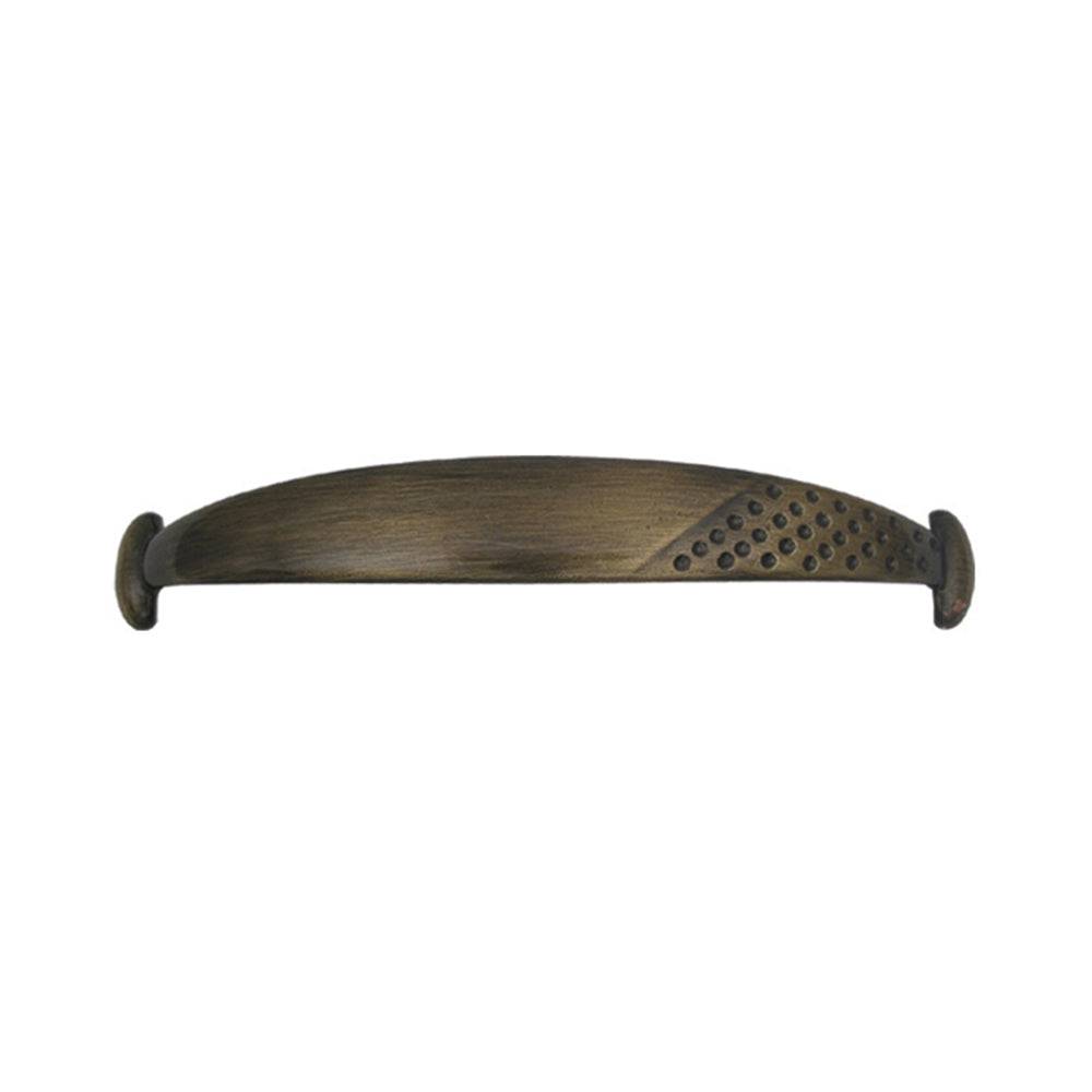 Decorative curved pull handle made of solid brass.