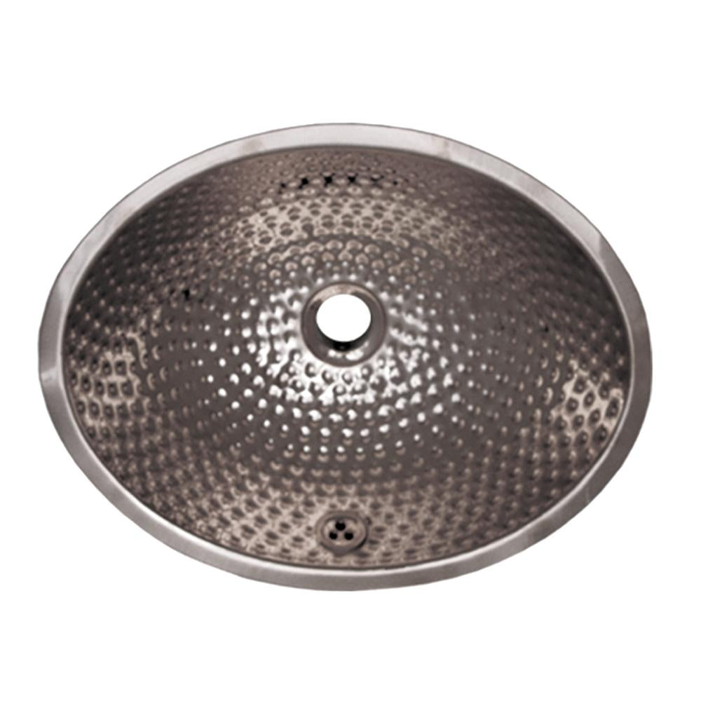 "16"" Decorative oval hammered textured undermount basin with overflow"