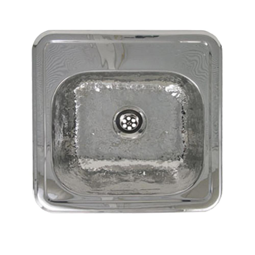 "15"" Decorative square drop-in entertainment/prep sink with a hammered texture bowl and mirrored finish ledge"