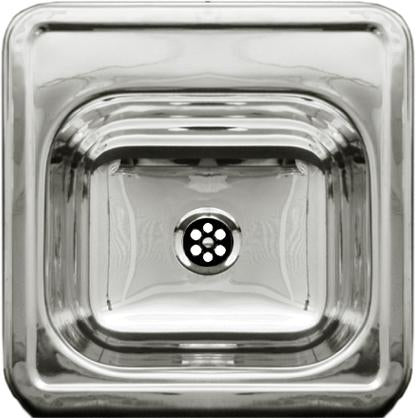 "15"" Decorative square drop-in entertainment/prep sink with a smooth surface"