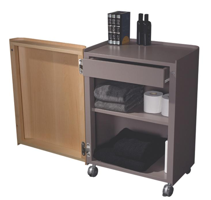 Aeri Gray Freestanding Storage Unit with a Drawer, Two Shelves and Casters