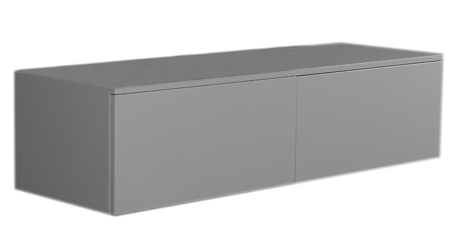 Aeri Gray Lacquered Wood Wall Mount Unit with Double Drawers and Counter Top