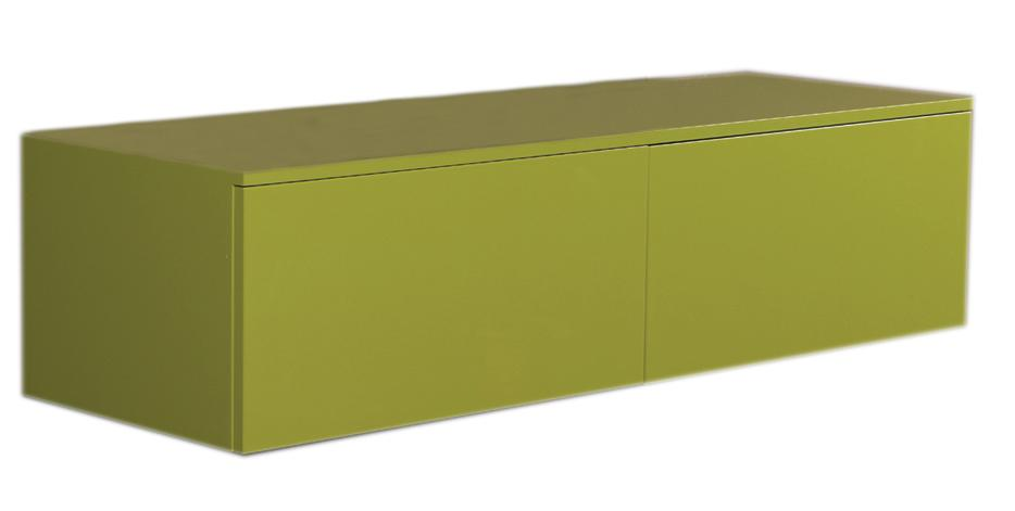 Aeri Green Lacquered Wood Wall Mount Unit with Double Drawers and Counter Top