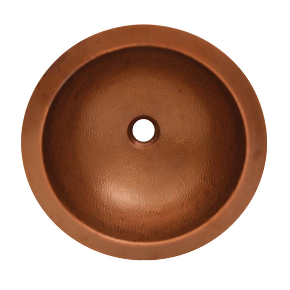 "Copperhaus 16"" Round Undermount Copper Basin with a Hammered Texture"