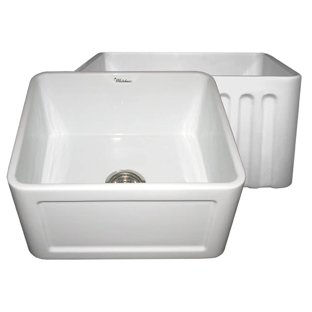 "Reversible Series 24""  fireclay kitchen sink with concave design"