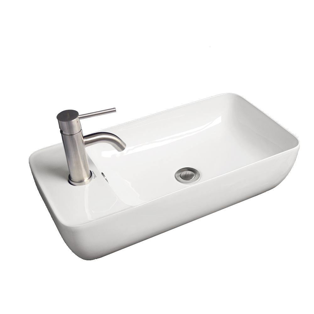 "Isabella Collection 24"" Rectangular Above Mount Basin with Integrated Rectangular Bowl and a Center Drain"