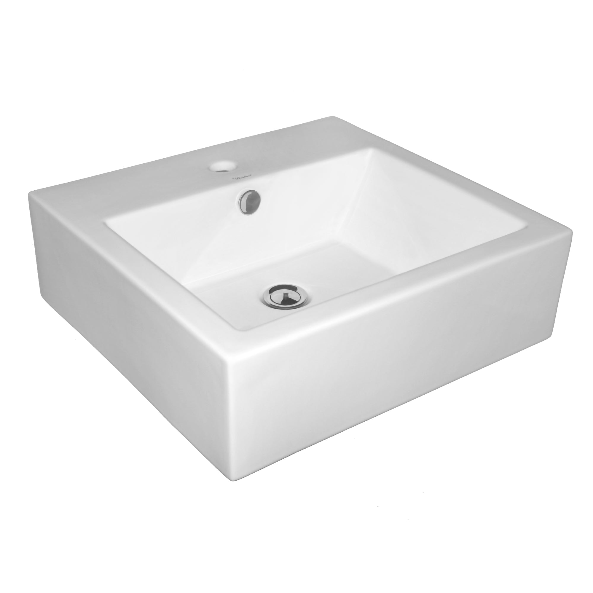 "Isabella Collection 19"" Square Wall Mount Basin with Overflow, Single Faucet Hole and Rear Center Drain"