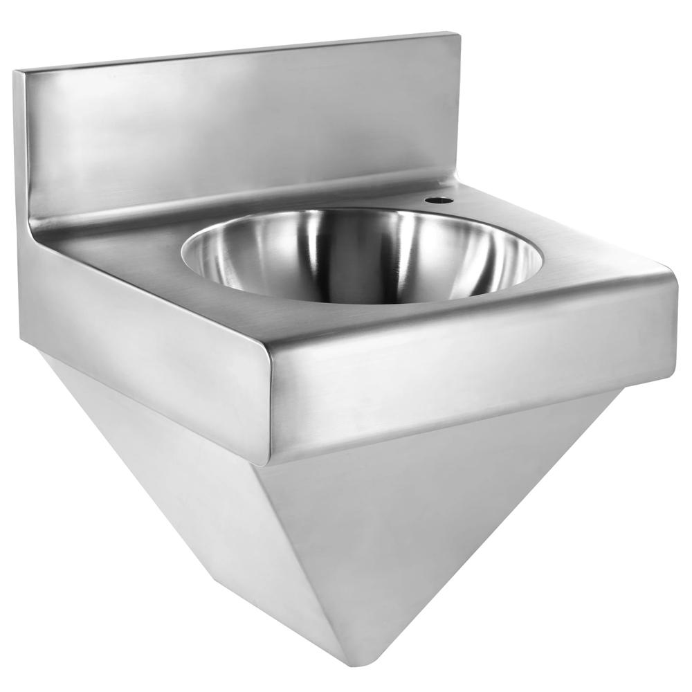 "18"" Noah's Collection Brushed stainless steel commercial single bowl wall mount wash basin"