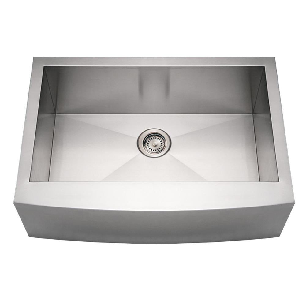 "30"" Noah's Collection Brushed stainless steel commercial single bowl sink with an arched front apron"