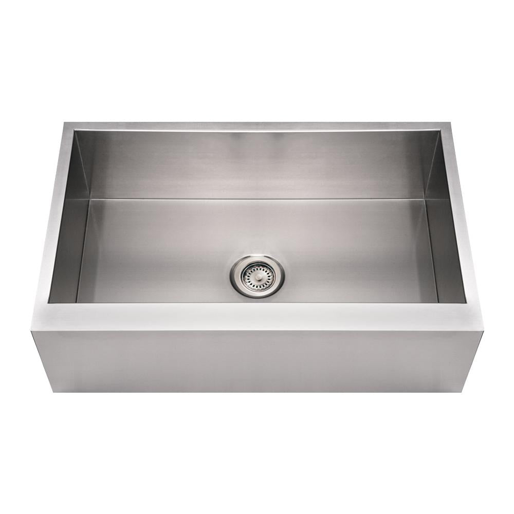 "33"" Noah's Collection Brushed stainless steel commercial single bowl front apron sink"