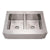 "36"" Noah's Collection Brushed stainless steel commercial double bowl sink with a decorative notched front apron"