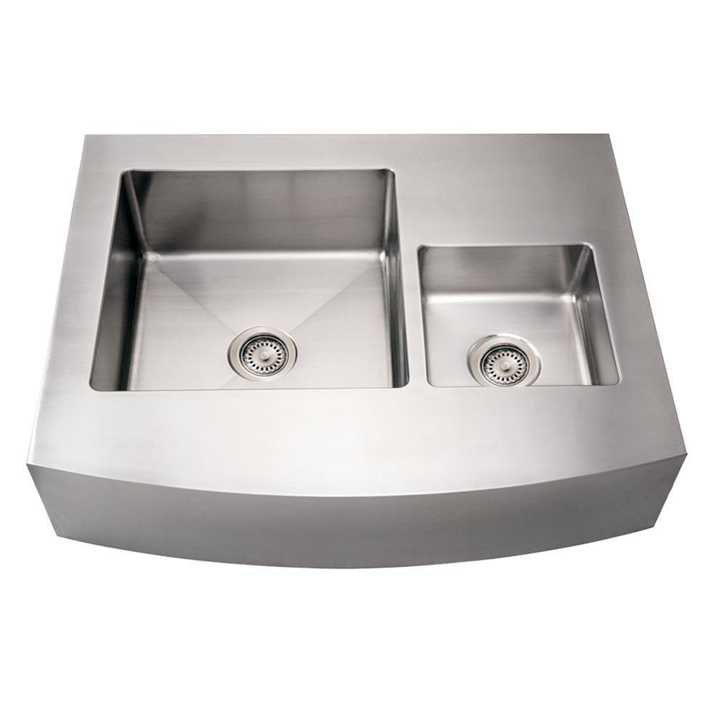 "36"" Noah's Collection Brushed stainless steel commercial double bowl sink with an arched front apron"