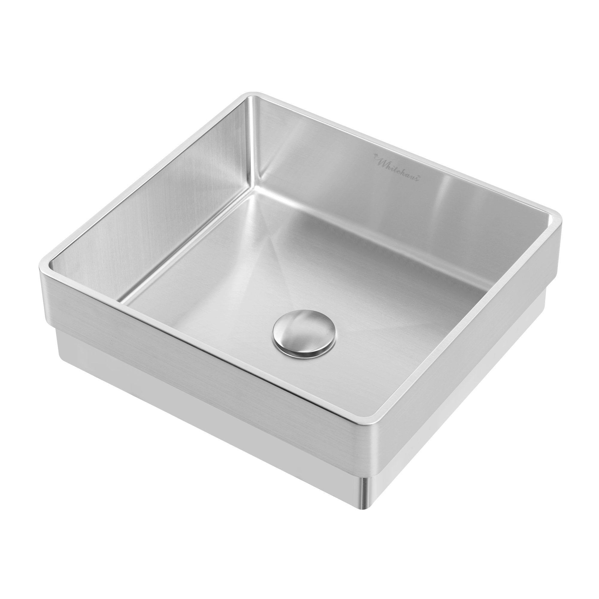 "15"" Noah Plus 18 gauge, squared semi-recessed basin set with center drain"