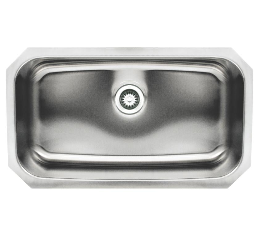 "Noah's Collection 30"" Brushed Stainless Steel Rectangular Single Bowl Undermount Sink"