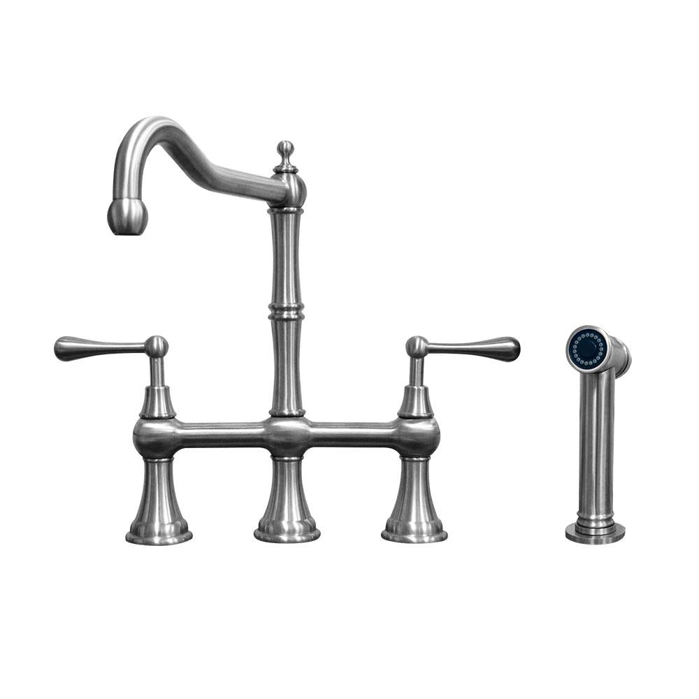Lead-Free Solid Stainless Steel Bridge Faucet with a Traditional Spout, Lever Handles and Side Spray
