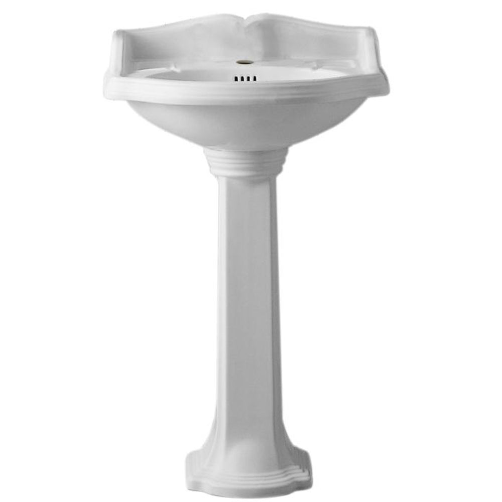 "Isabella Collection 23"" Traditional Pedestal with an Integrated small oval bowl, Backsplash, Dual Soap Ledges, Decorative Trim and Overflow"