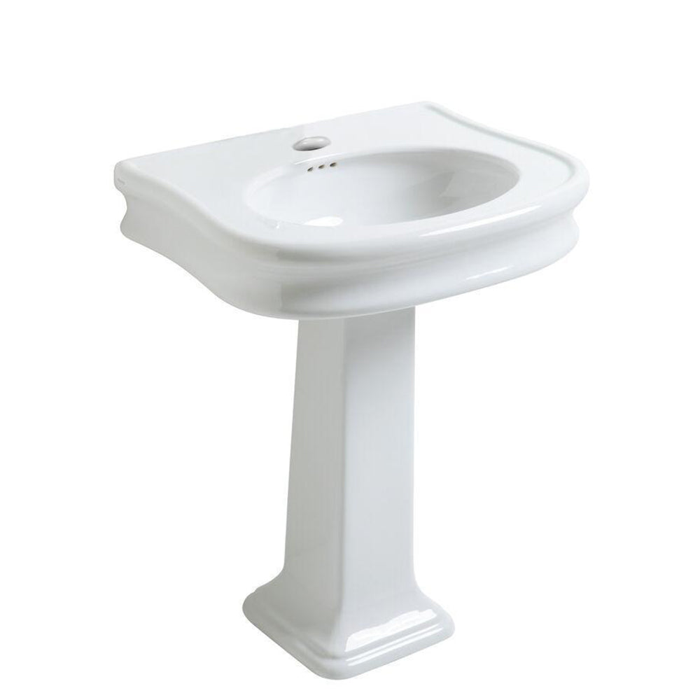 "Isabella Collection 27"" Traditional Pedestal Sink with Integrated Oval Bowl, Seamless Rounded Decorative Trim, Rear Overflow and Single Hole Faucet Drill"
