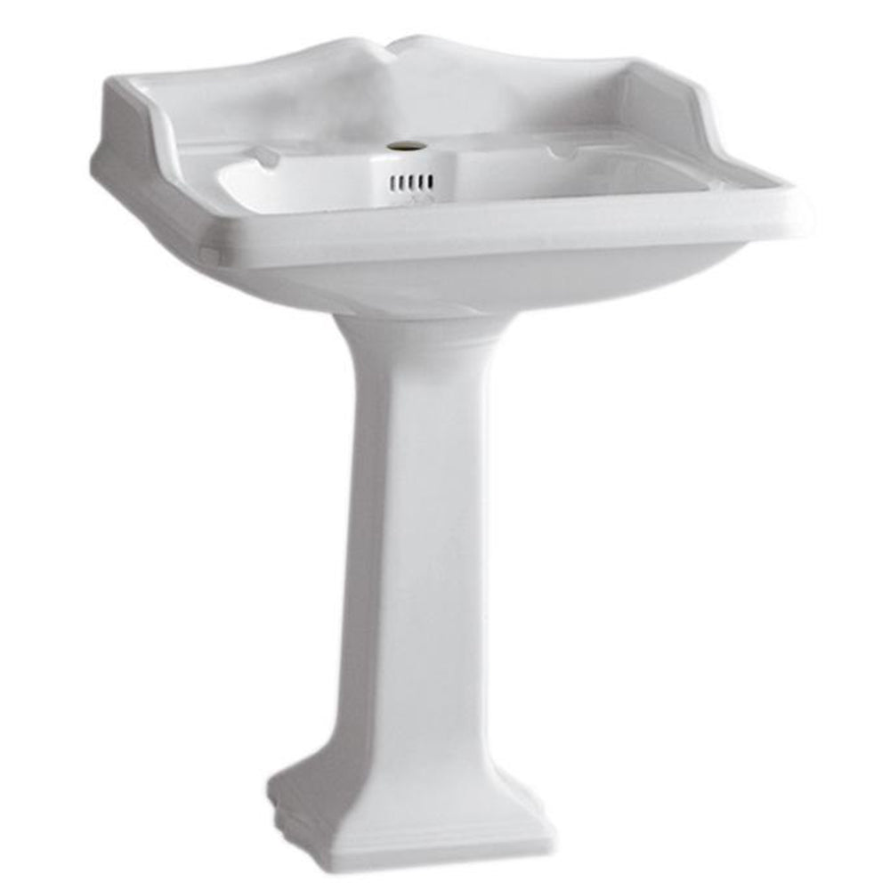 "Isabella Collection 28"" Traditional Pedestal with an Integrated large Rectangular Bowl, Backsplash, Dual Soap Ledges, Decorative Trim and Overflow"