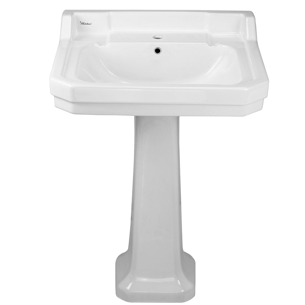 "Isabella Collection 23"" Traditional Pedestal with Integrated Large Rectangular Bowl, Backsplash, Dual Soap Ledges, Decorative Trim and Overflow"