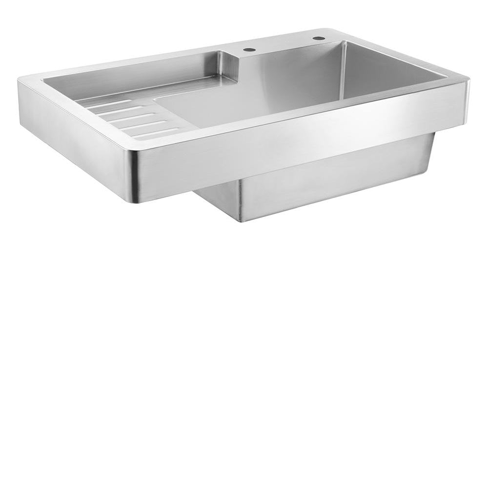 "33"" Pearlhaus Brushed stainless steel single bowl drop-in utility sink with drainboard"