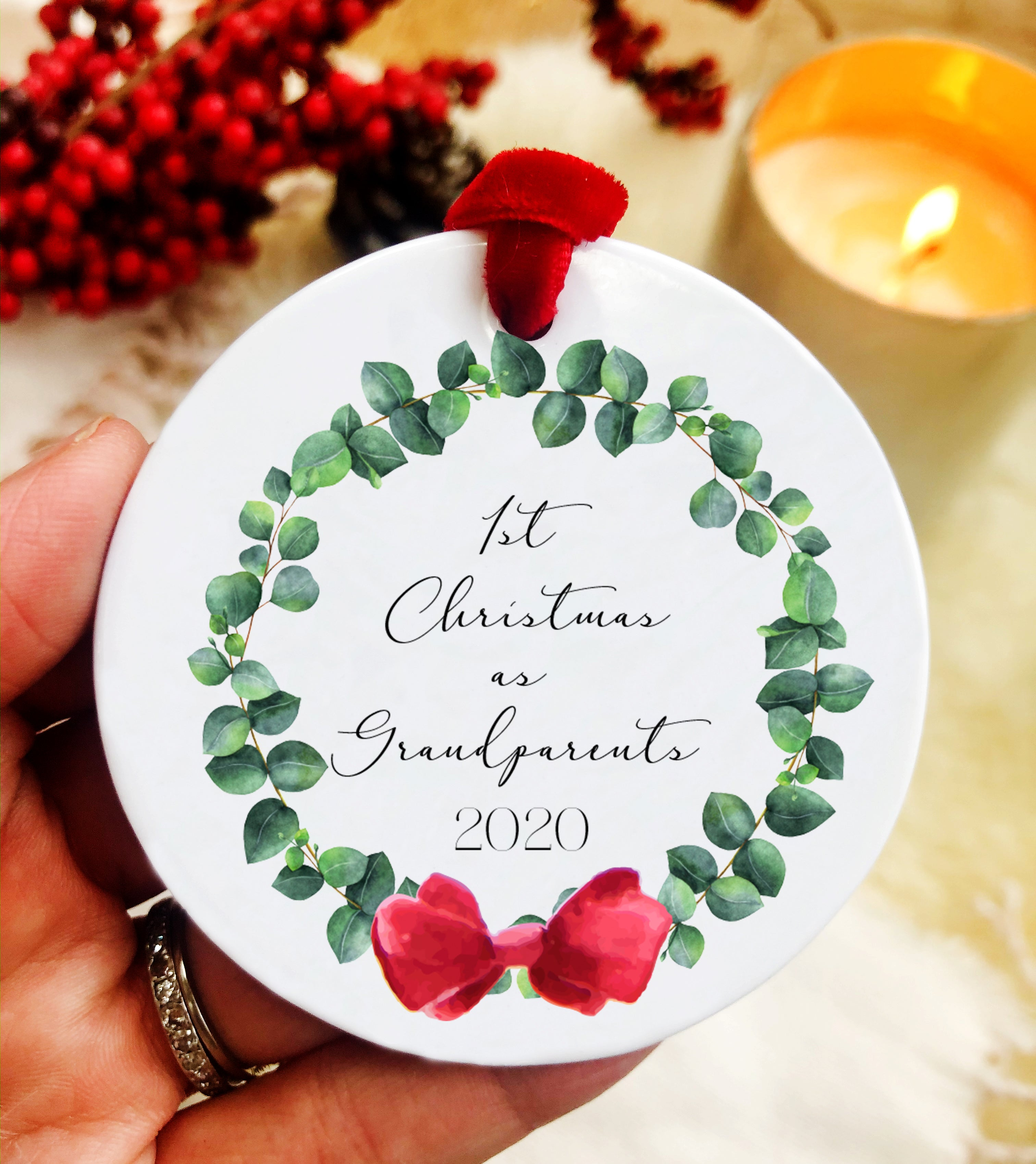 Wreath First Christmas as Grandparents Ceramic Ornament