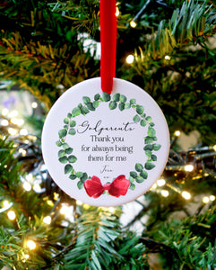 Wreath Christmas Gift for God Parents Ceramic Ornament