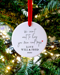 'Can't wait to hug you' Christmas message Ceramic Ornament