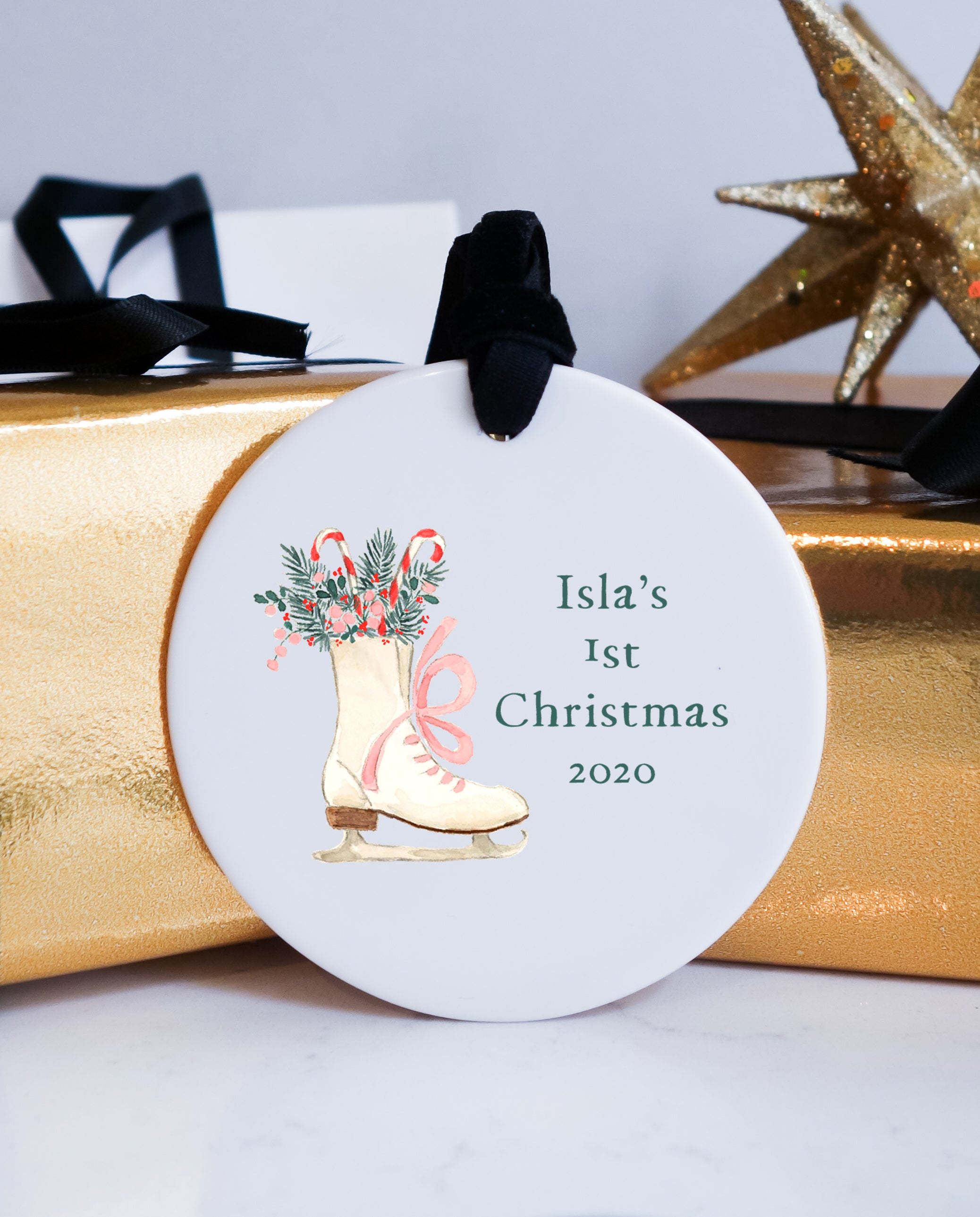 Ice Skate First Christmas Baby Ceramic Ornament