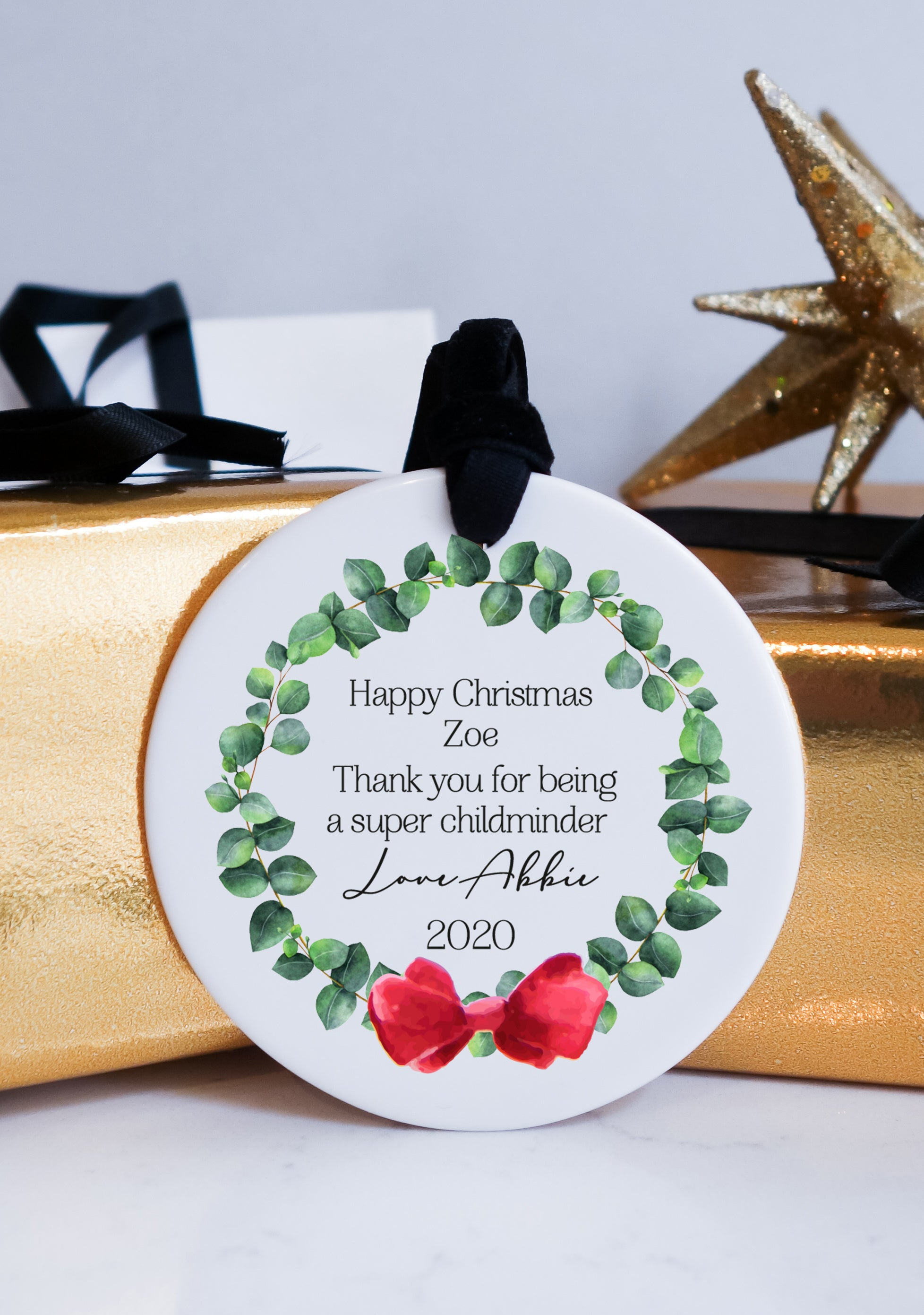 Merry Christmas Childminder Gift Christmas Ceramic Ornament