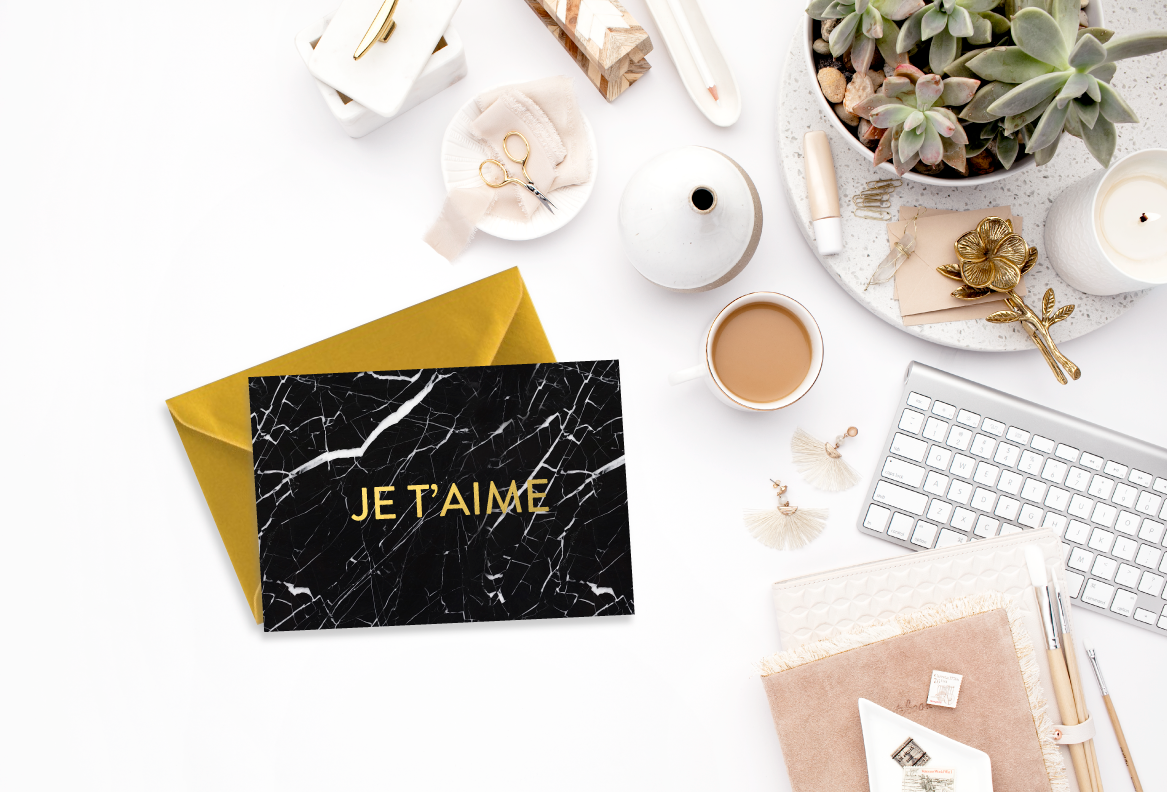 Marble (Black) Je T'aime Gold Foil Love Card