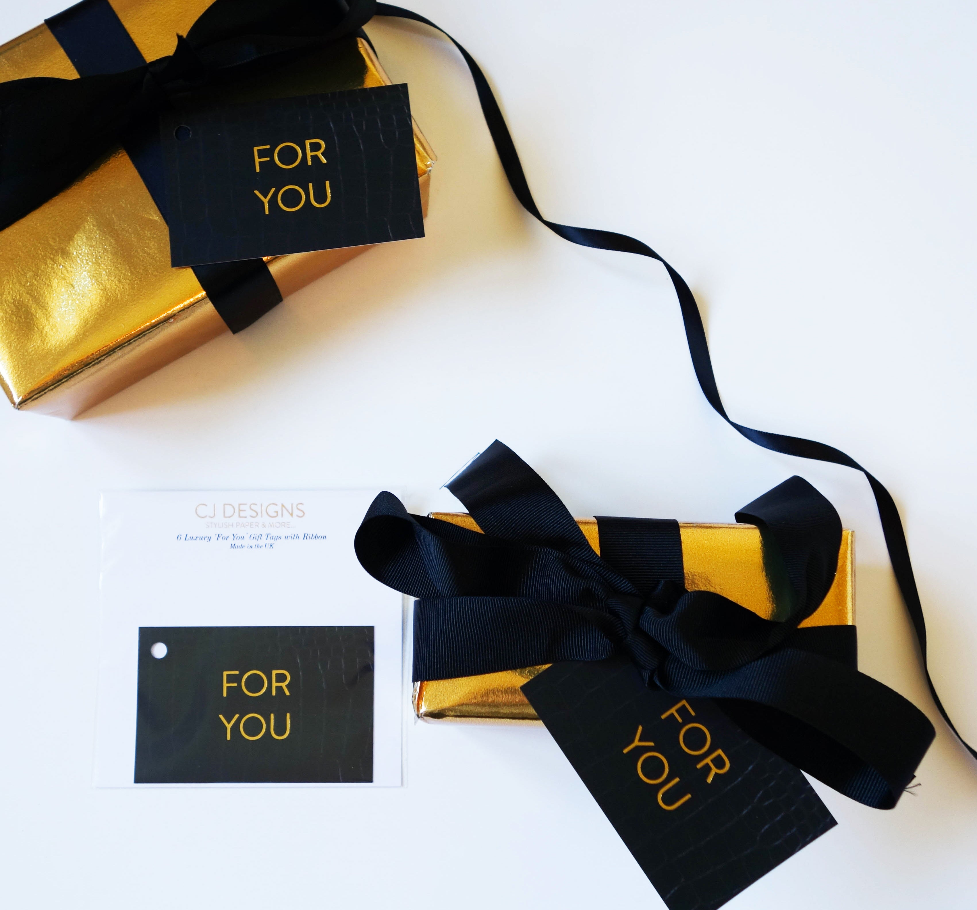 Black Leather 'For You' Gift Tags