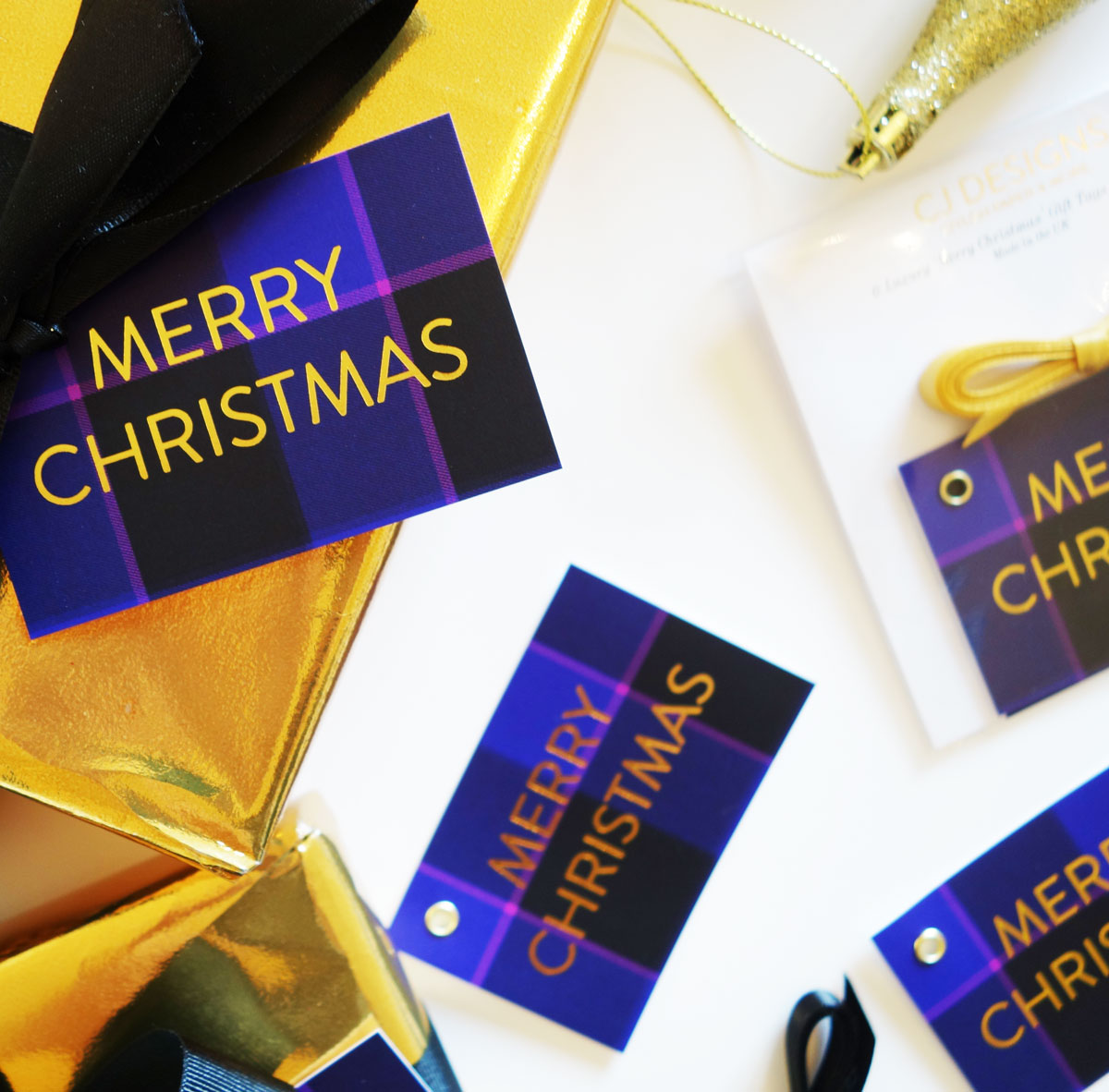 Purple Tartan 'Merry Christmas' Gift Tags