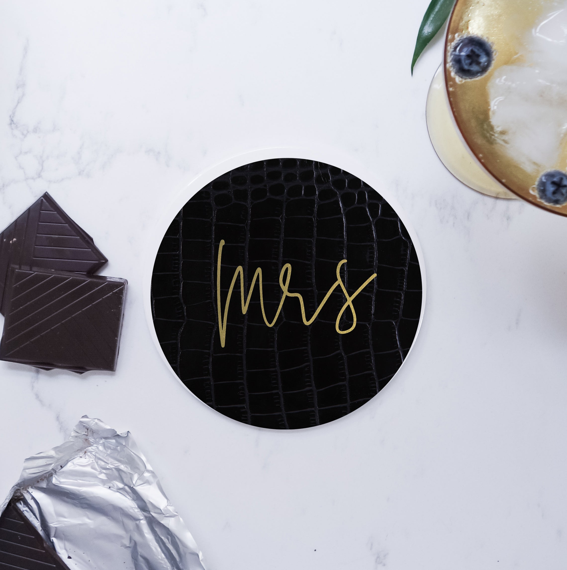 Set of Ceramic Modern Mrs Mrs Round Coasters - Black/white faux leather