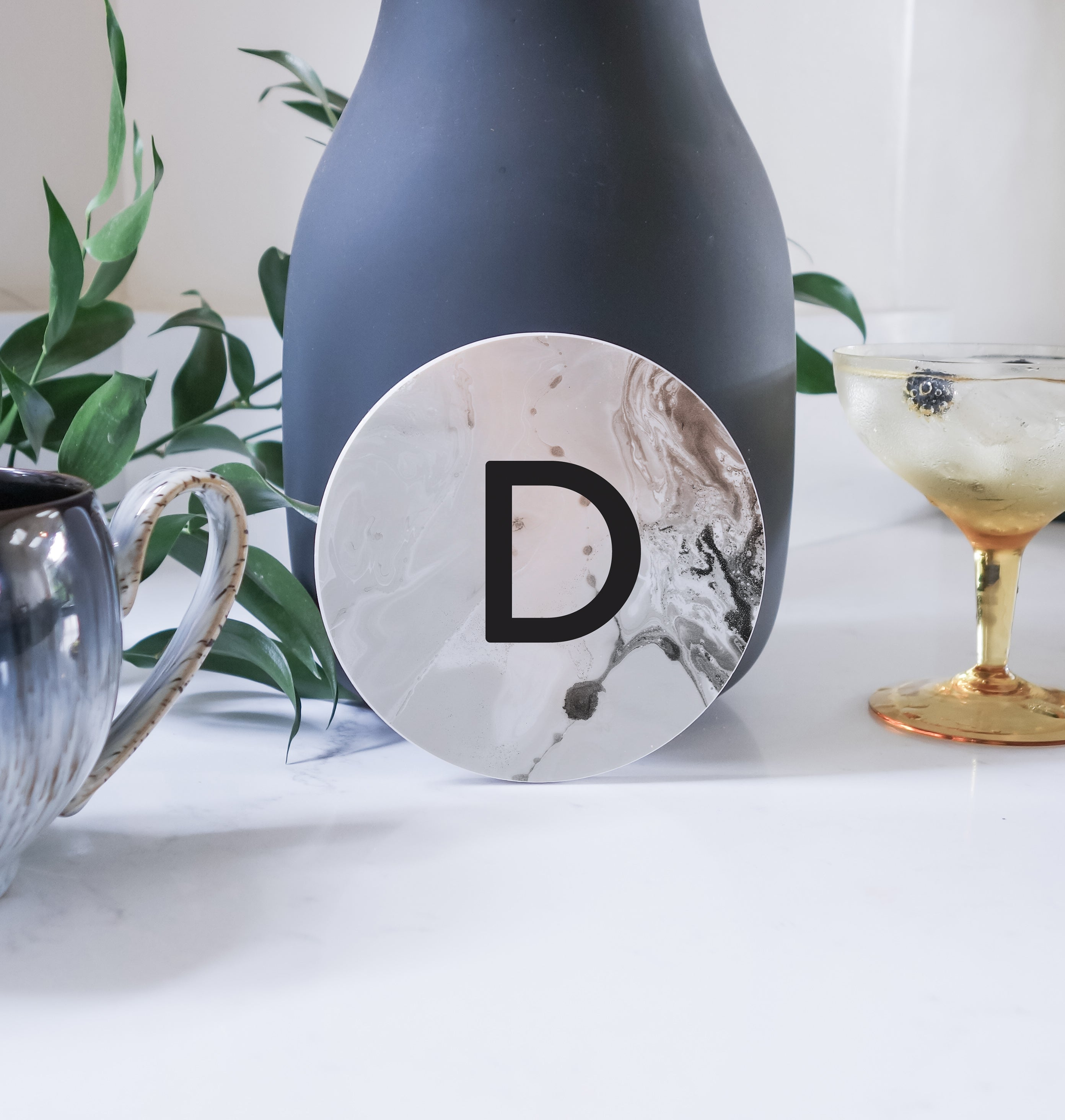 Ceramic Modern Personalised Round Coaster - Brown/Grey Marble