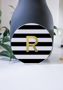 Ceramic Modern Personalised Round Coaster - Monochrome Striped Gold