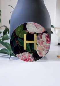Ceramic Modern Initial Round Coaster - Dark Floral with Gold
