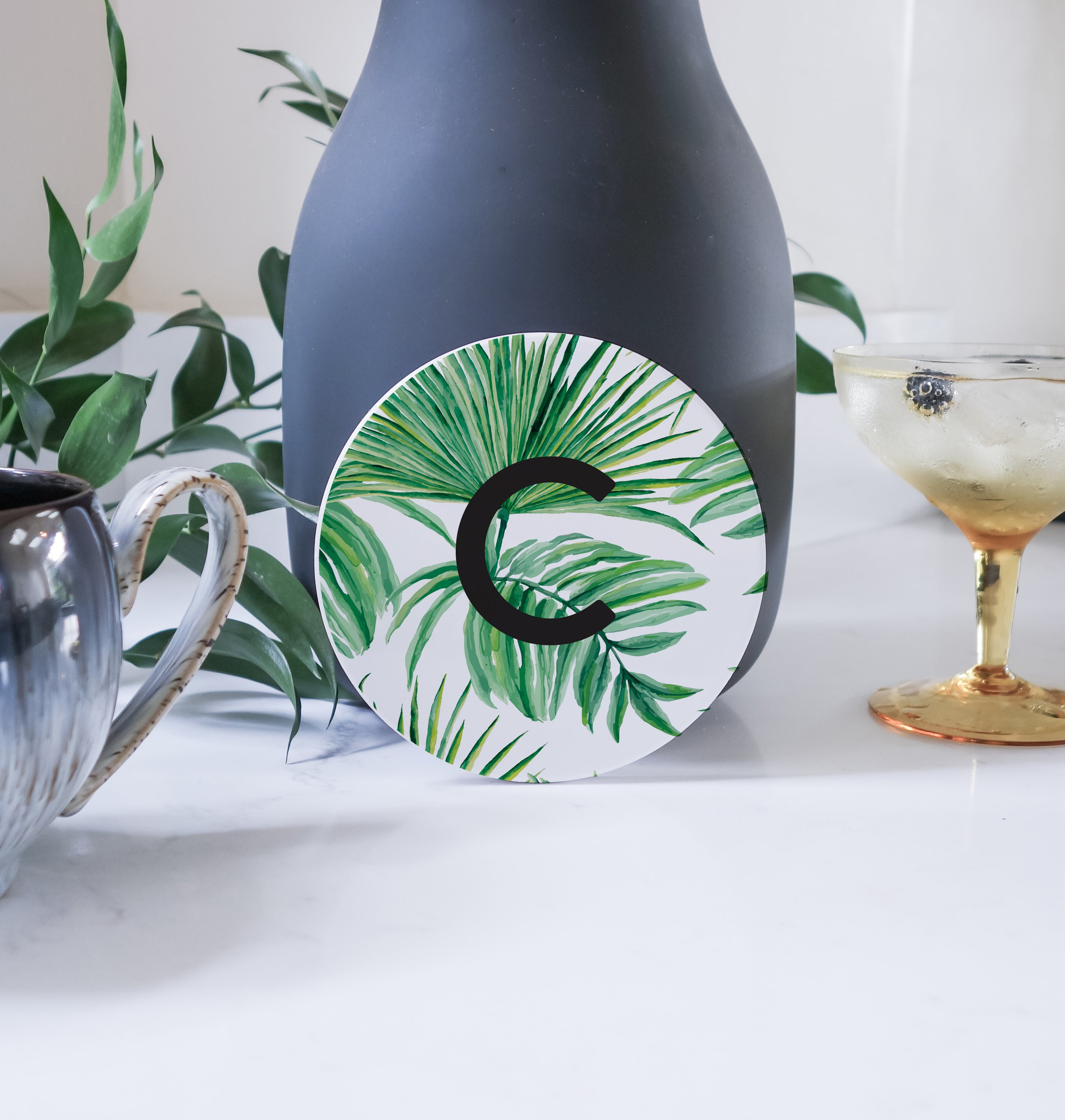 Modern Personalised Initial Coaster - Palm Tree