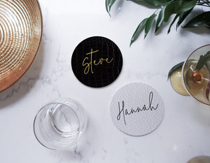 Ceramic Modern Personalised Round Coaster - White faux leather