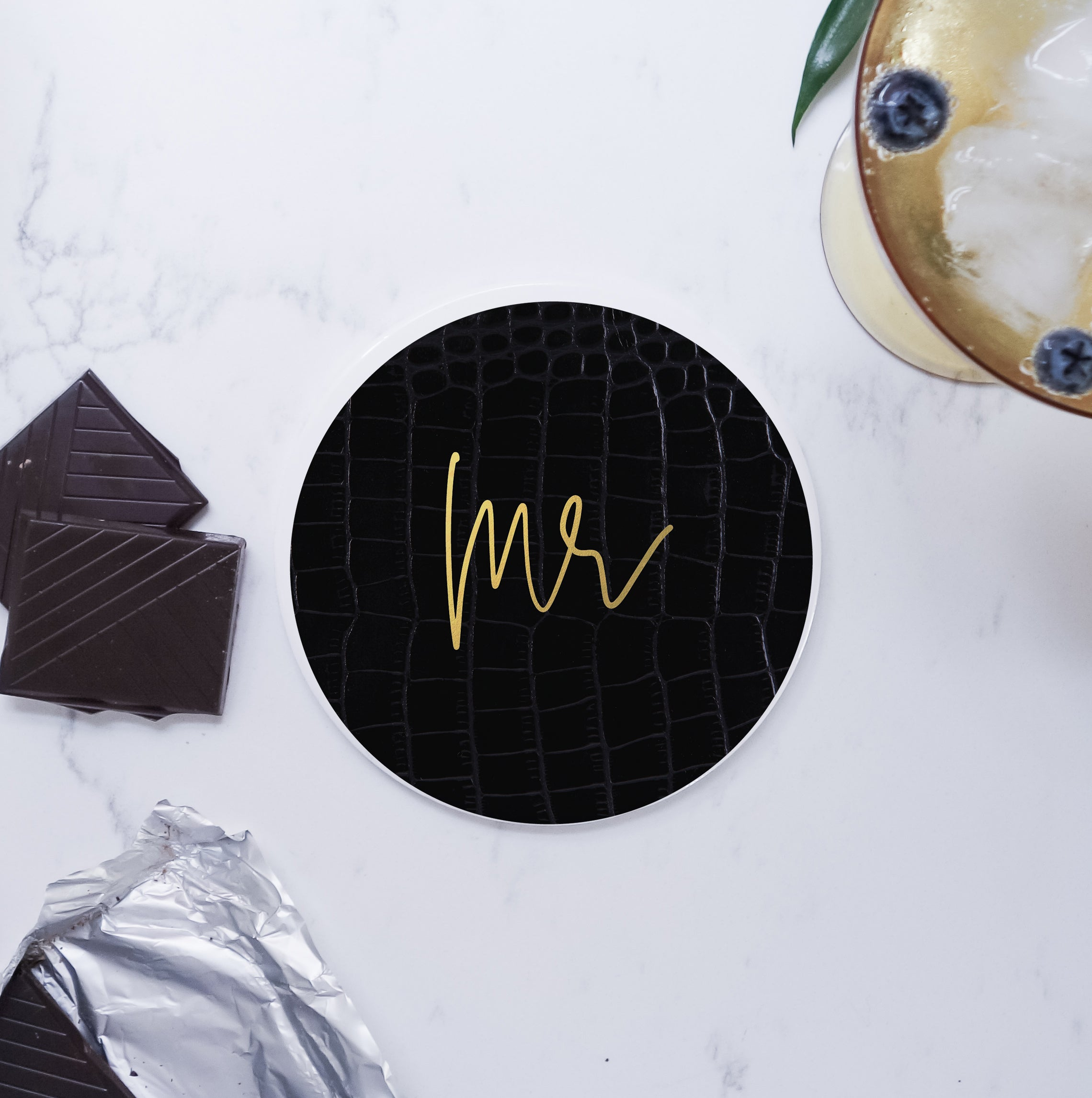 Set of Ceramic Modern Mr Mr Round Coasters - Black/white faux leather