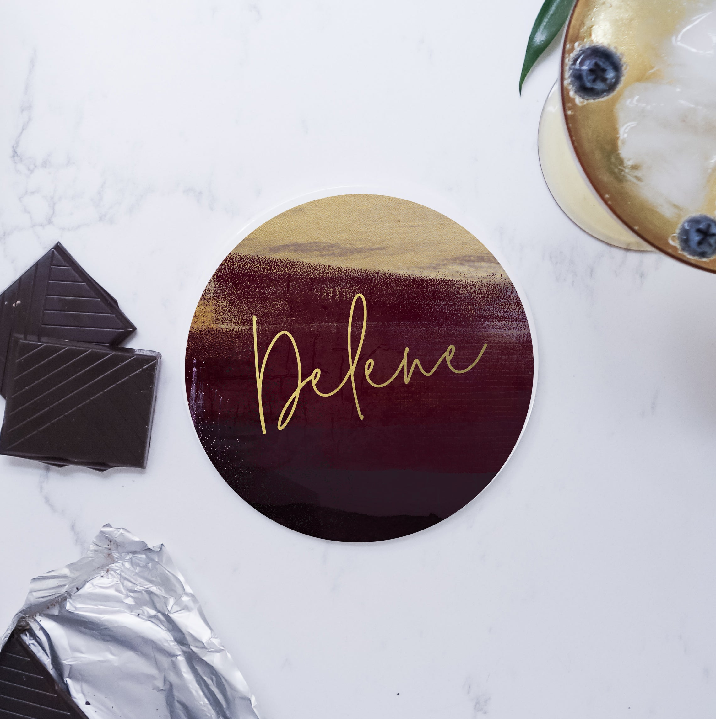 Ceramic Modern Personalised Round Coaster - Burgundy and Gold