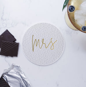 Set of Ceramic Modern Mr Mrs Round Coasters - Black and white faux leather