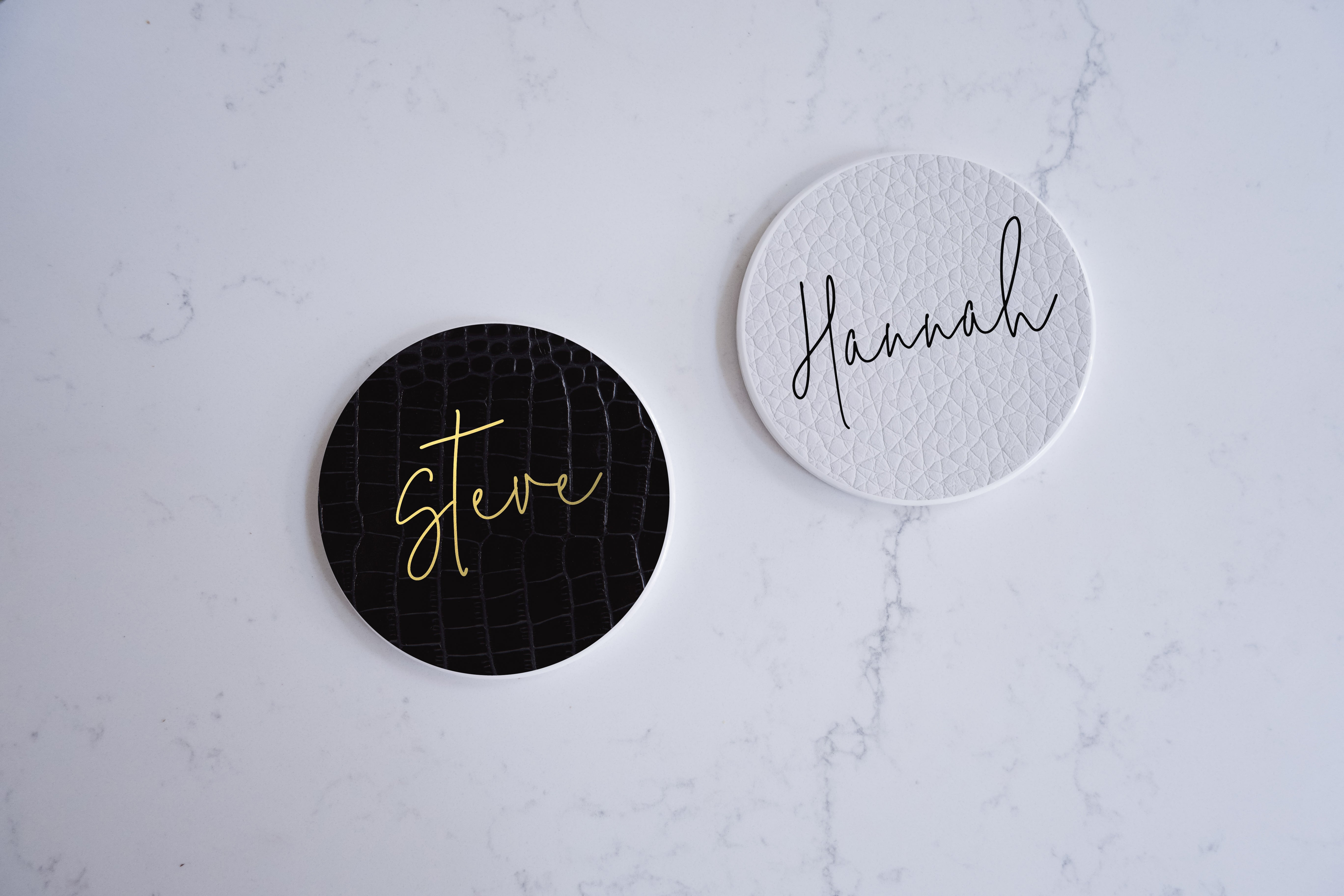Ceramic Modern Personalised Round Coaster - Black faux leather