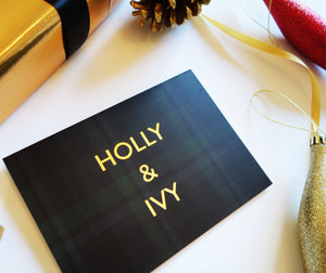 'Holly and Ivy' Green Tartan Gold Foil Christmas Card