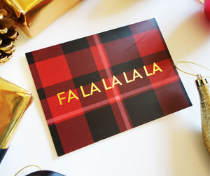 'Fa La La La La' Red Tartan Gold Foil Christmas Card