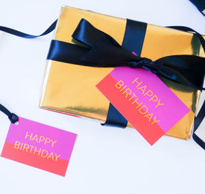 Pink 'Happy Birthday' Gift Tags