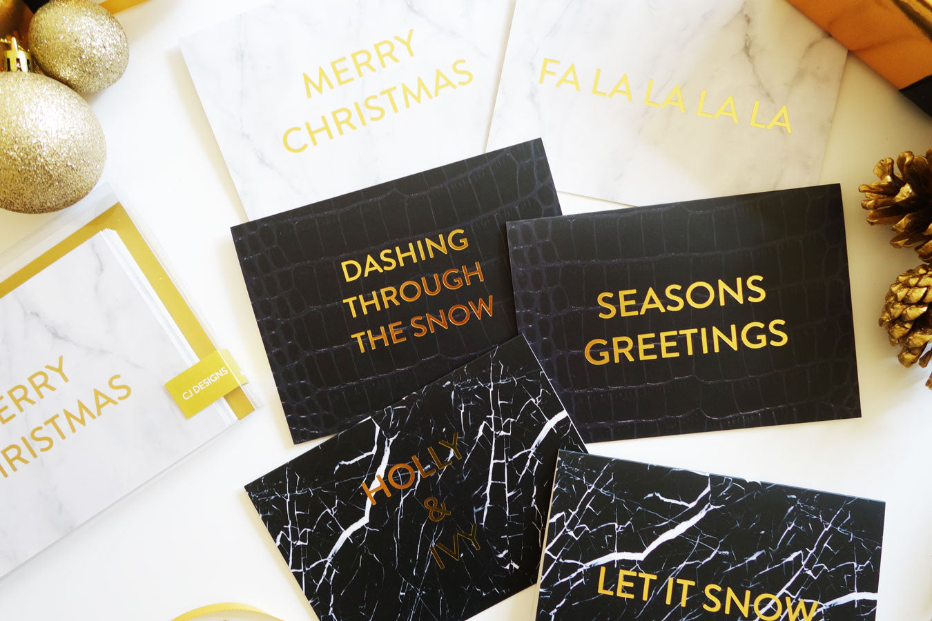 'Dashing Through The Snow' Black Leather Gold Foil Christmas Card